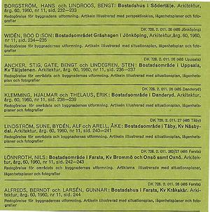 ARKITEKTUR 1960/11 Nils Lönnroth, Berndt Alfreds, Lennart Kvarnström, Voldemars Vasilis, Fritz Jaenecke, Thorsten Roos, Bror Thornberg, Stig Ancker, Bengt Gate