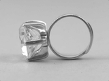Finger ring of sterling silver with rock crystal Hallberg
