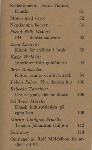 FORM 1964/2 PH Poul Henningsen, Lena Larsson, Torsten Johansson, Poul Kjaerholm, Jörn Utzon, Lisbeth Have, Hanne Vedel, Ruth Malinovski, Hanne Backhaus, Rolf Middelboe, Verner Panton