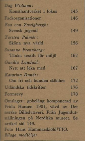FORM 1964/3 Jugend, Kaisa Melanton, Ulla-Britta Emitslöf-Dejmo, Kurt, Inga Bagge
